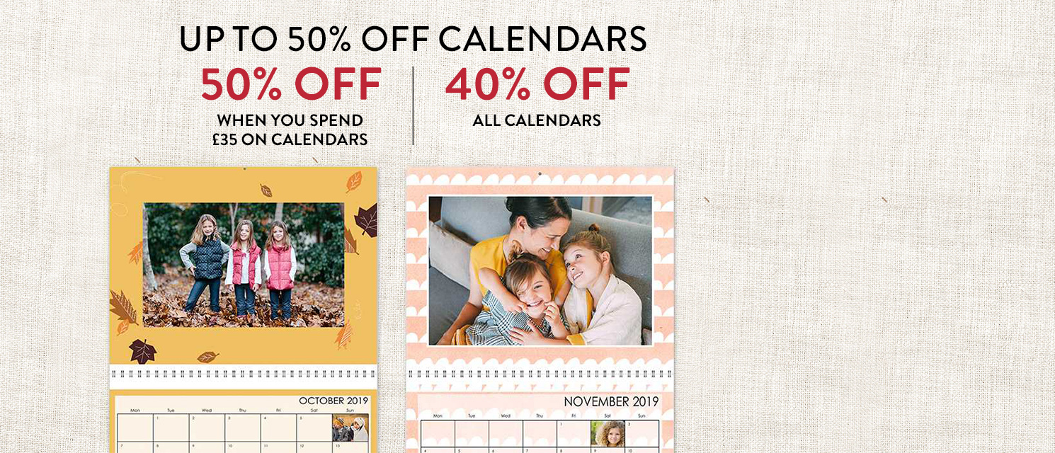 Up to 50% off calendars!