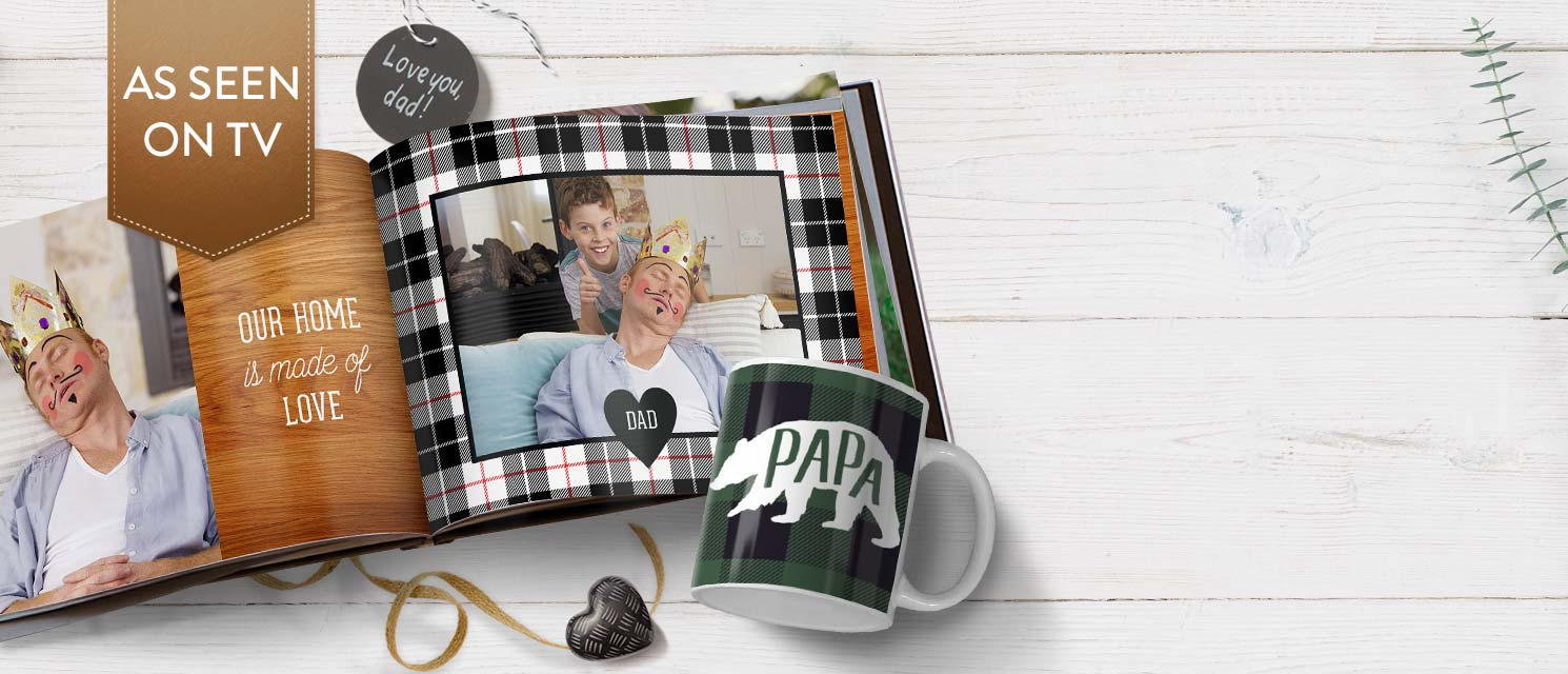 "Gifts for Dad : Save €14 on any 8x6"" or larger Photo Book, or save €7 on any Photo Mug!"