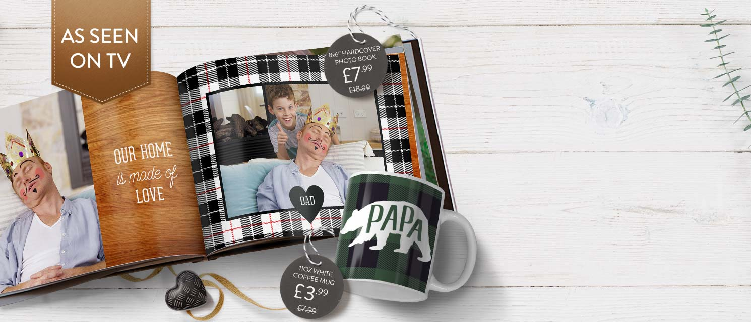 Gifts for Dad : Save £11 on any Photo Book, or £4 on any Photo Mug!