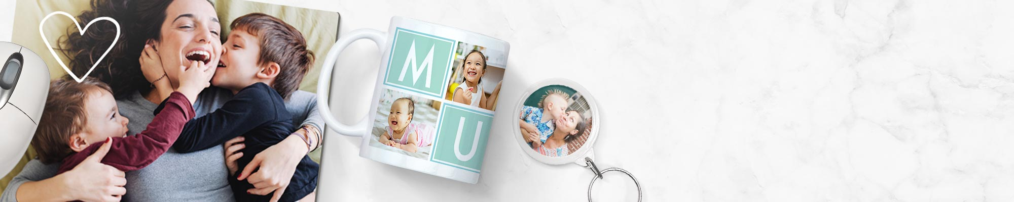 Photo Gifts Personalised mugs, mousemats, keyrings and more. It only takes minutes to make a cherished keepsake.