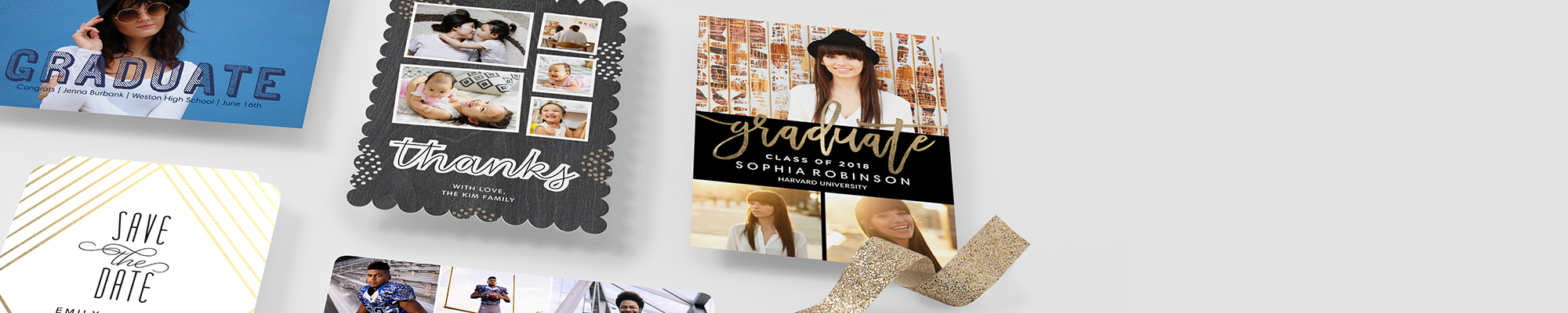 Photo Cards Hats off! Pump up the pomp with beautifully designed graduation announcements.