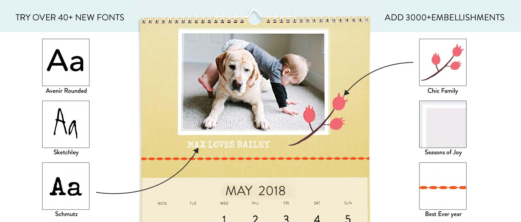 Calendar fonts and embellishments