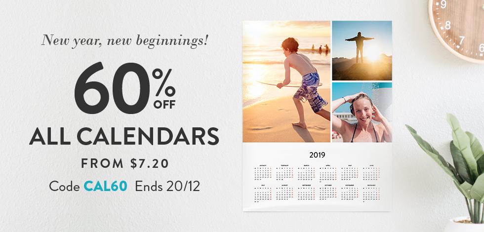 60% off all Calendars