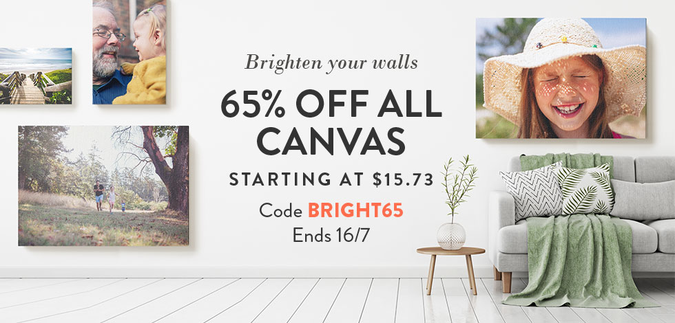 65% off all Canvas Prints. Starting from $15.73.