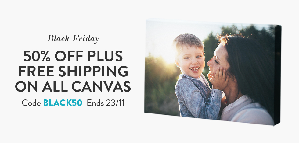 50% off + Free delivery on all Canvas
