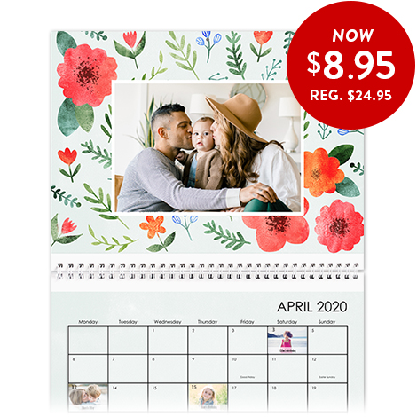 20x28cm Wall Calendar with a full photo image on top and grid below