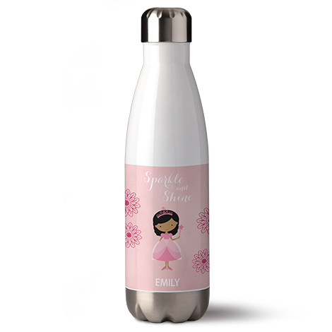 Bottle with a girl cartoon on it.