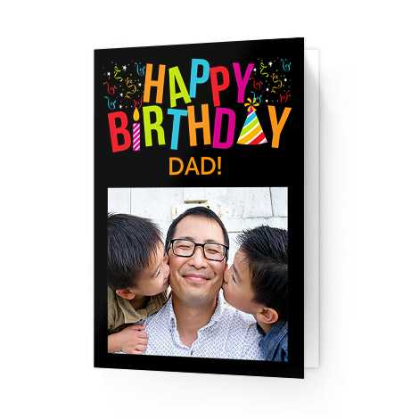 dad with sons on happy bithday card for dad