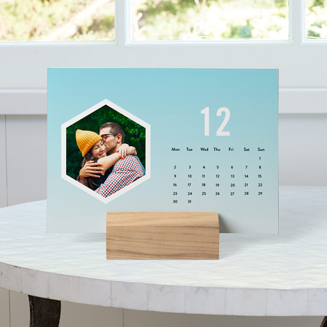Wood Block Desk Calendar on the table