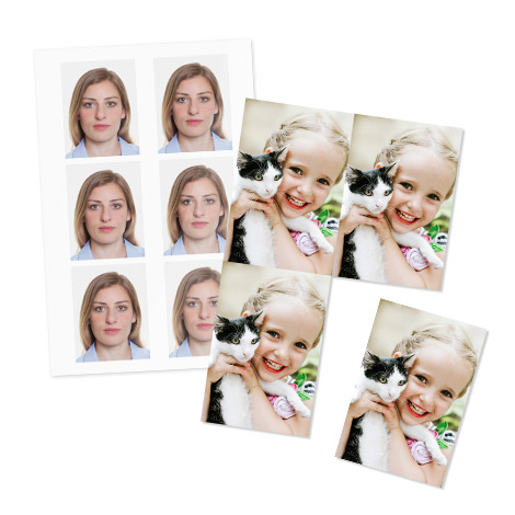 Passport and Wallet prints of girl with pet and a women.