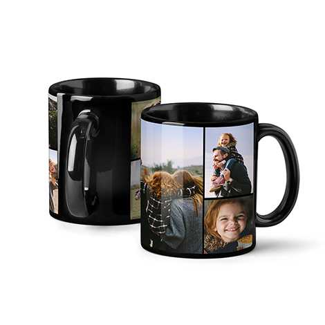 Icon Collage Photo Coffee Mug, 11oz, Black