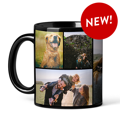 Collage Photo Coffee Mugs, Black