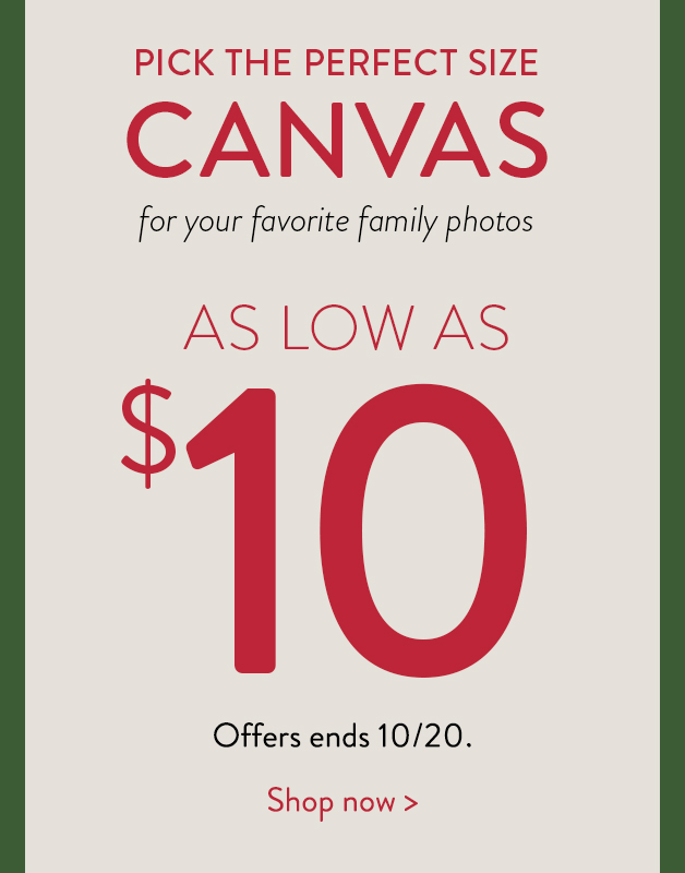 Canvases as low as $10