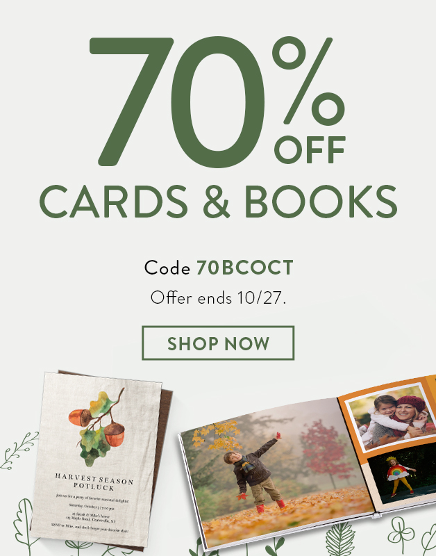 70% off Books and Cards
