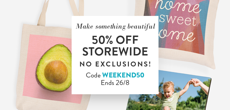 50% off storewide. No exclusions!