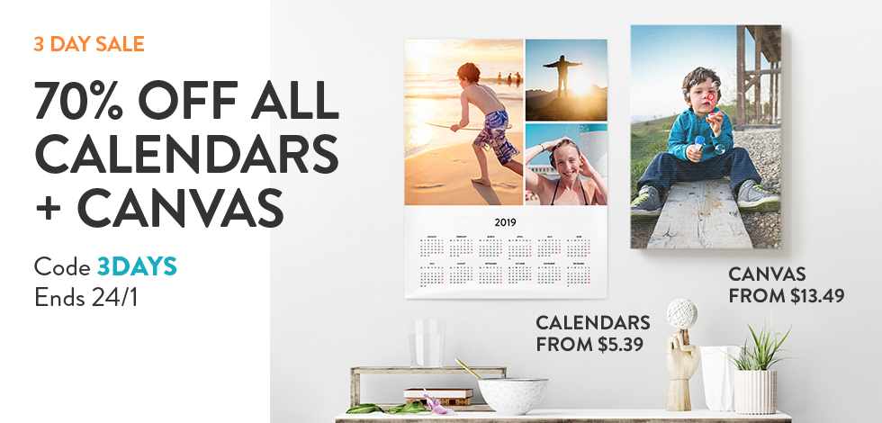 70% off all Calendars and Canvas