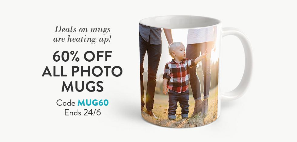 60% off all Photo Mugs