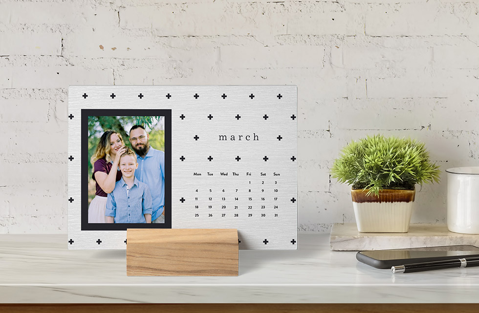 Wood Block Desk Calendar on the shelf