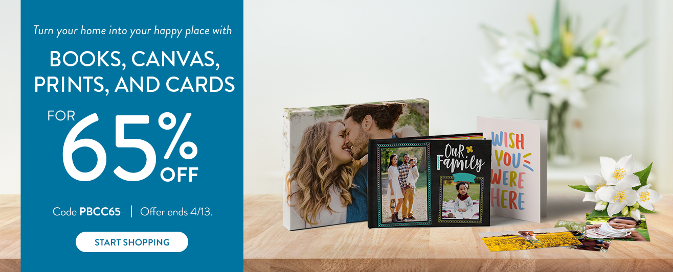 65% off books, cards, canvas and prints