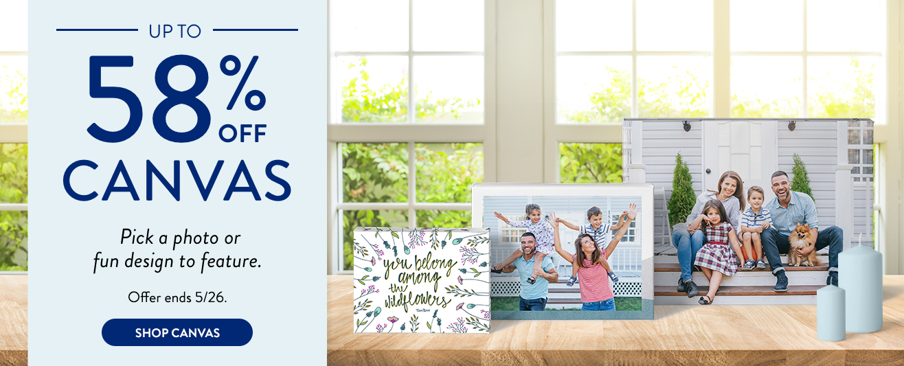 Save up to 58% on Canvas Prints