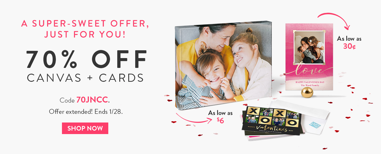 70% off cards and canvas