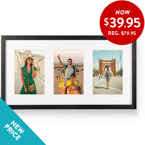 3-in-1 framed print. (Three photos in one frame)