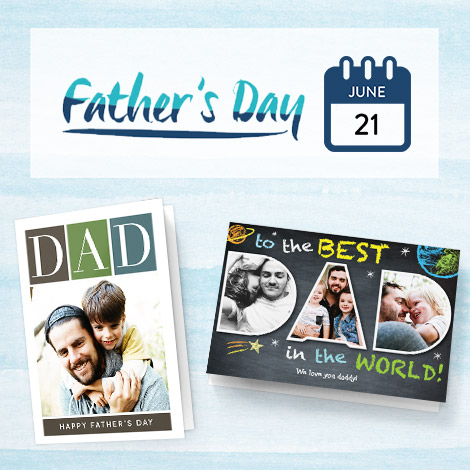 Two father's day cards with date 21 June