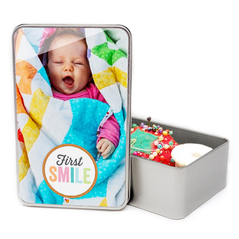 Image Of A Baby On Personalised Tins