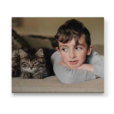 image of child and pet cat