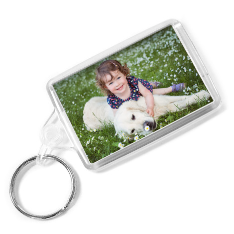Acrylic Keyring with picture of girl and dog