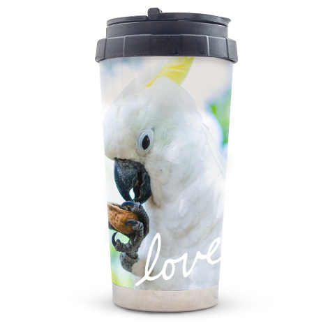 Travel mug with picture of pet bird