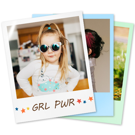image of child wearing sunglasses text in border says GRL PWR