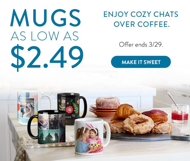 Photo Mugs as low as $2.49