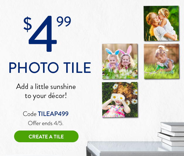8x8 photo tile for $4.99
