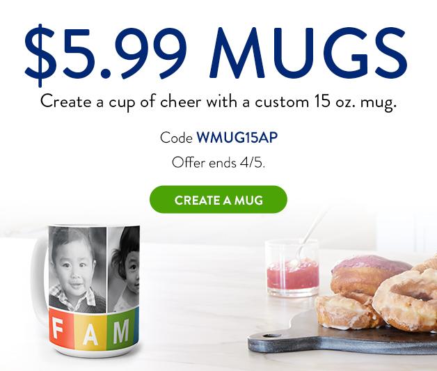 15oz. white photo mug for only $5.99