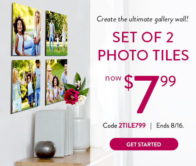Set of 2 8x8 Photo Tiles for $7.99