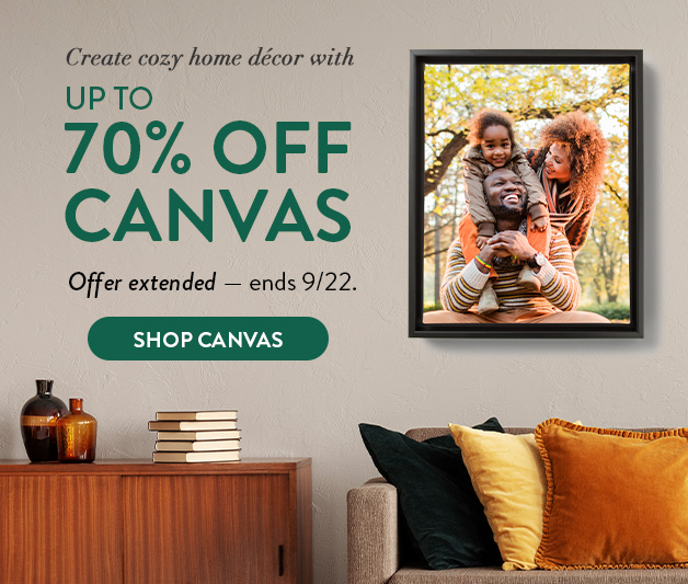 Up to 70% off Custom Canvas Prints