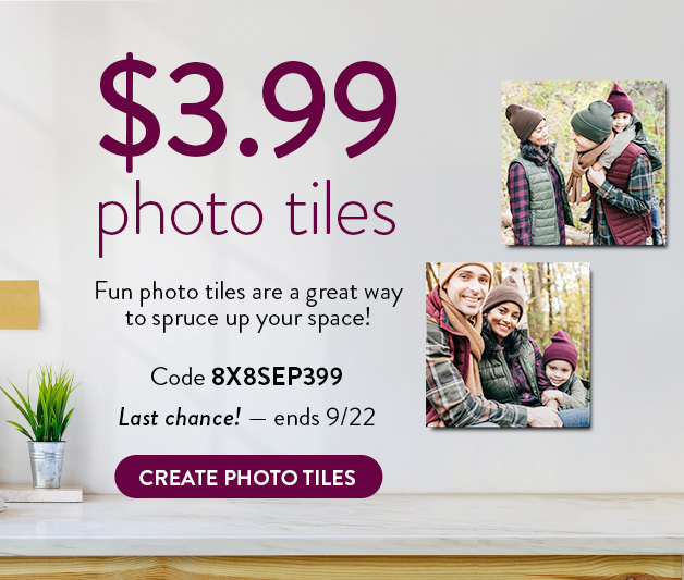8x8 Photo Tiles for $3.99 each.