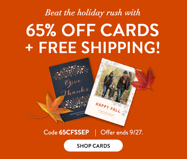 65% off + FREE shipping on Cards