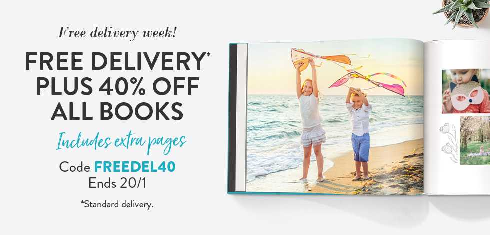 Free delivery* + 40% off all Books