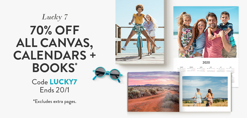 70% off all Canvas, Calendars and Books*