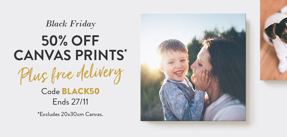 50% off + free delivery on Canvas Prints*