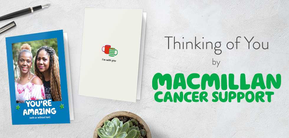 Two thinking of you cards designed by Macmillan Cancer support