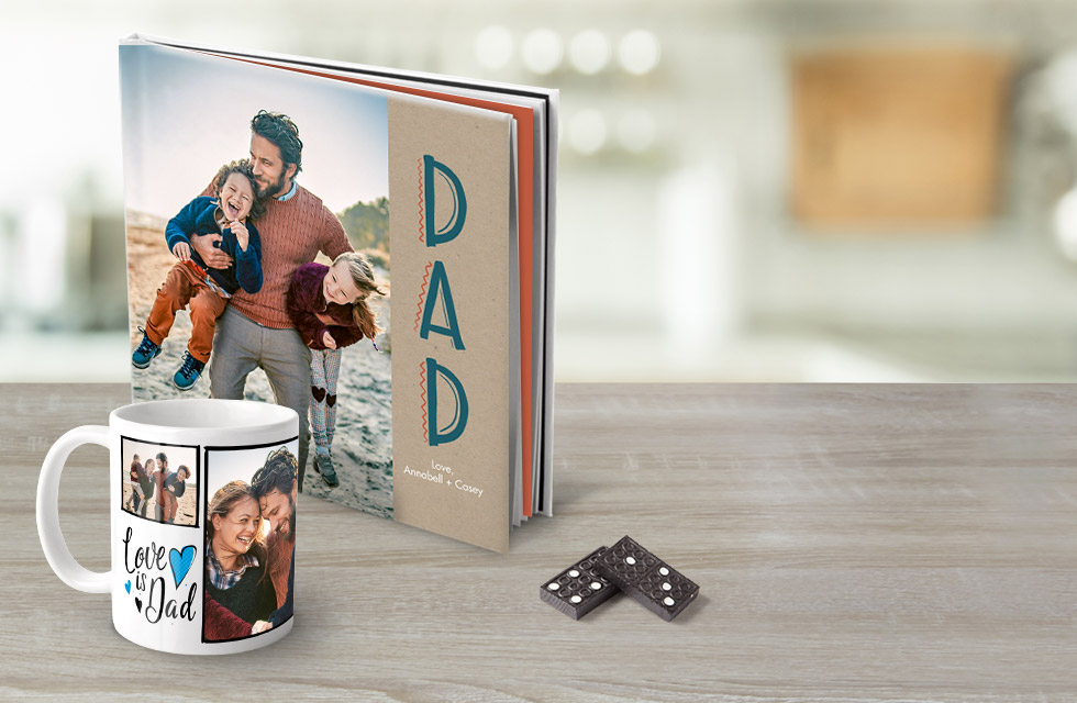 Celebreate Dad with a photo book for $9.95 or his very own coffee mug for $6.95