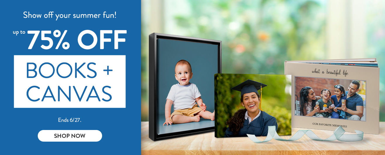 Up to 75% off Photo Books and Canvas