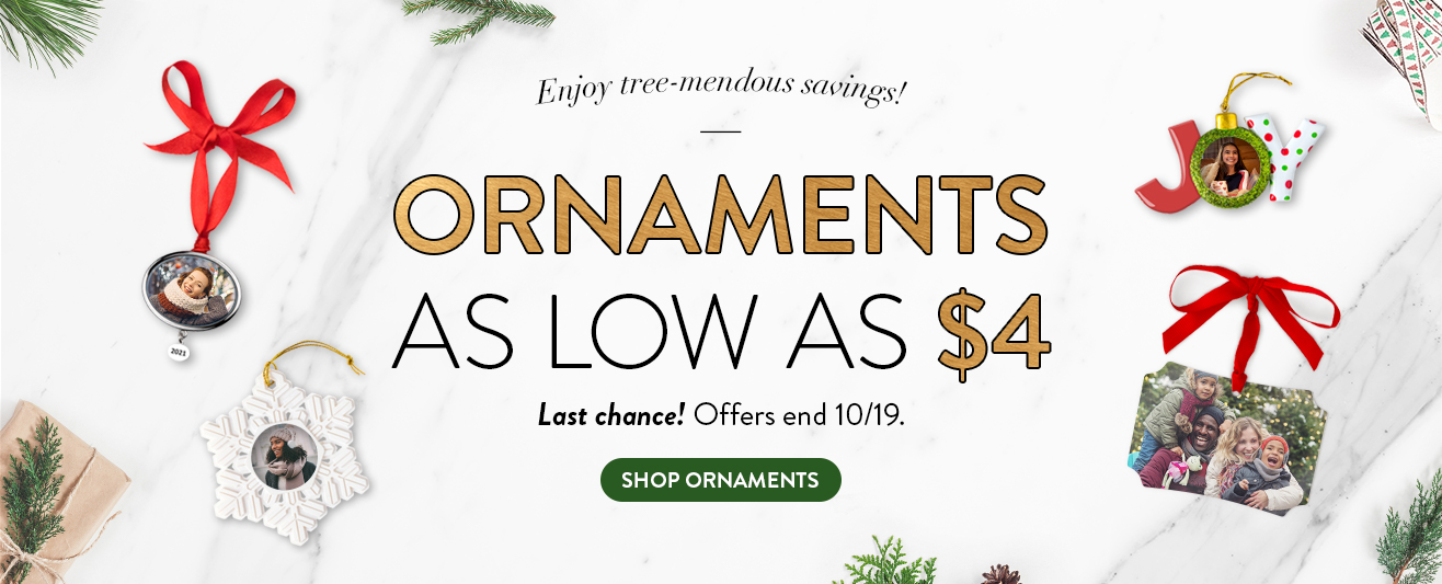 Ornaments as low as $4