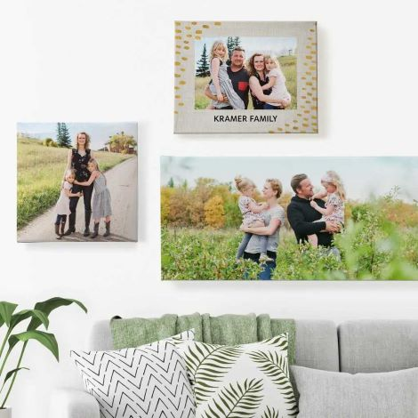 Four canvas prints on wall