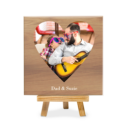 Ceramic photo tile with photo of dad and daughter