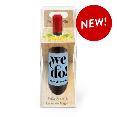 Wine Bottle Magnet with Corkscrew + Bottle Opener