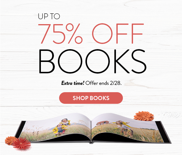 up to 75% off photo books